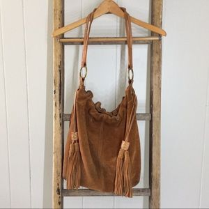 Lucky Brand Suede Leather Tassel Drawstring Hobo